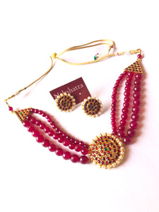 Three layer maroon beads kemp choker set