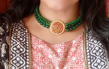 Kemp stones three layer choker set with green beads