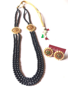 Black agate beads three layer kemp haram set