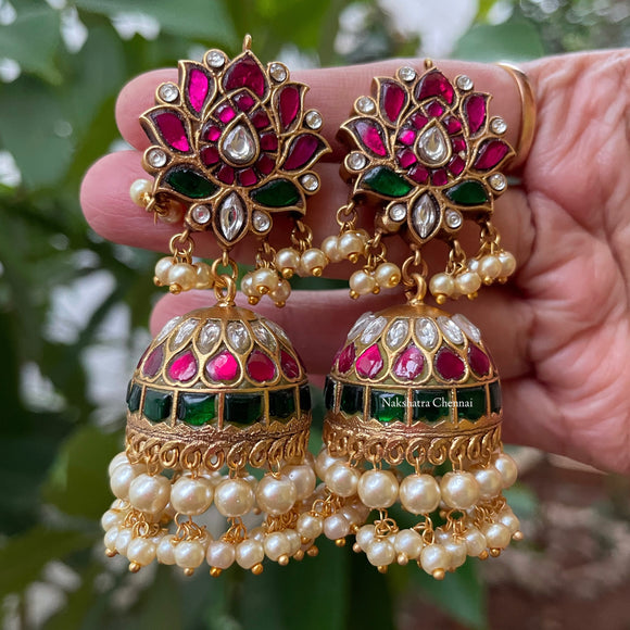 Real kemp-Kundan Jadau grand bridal jumkha