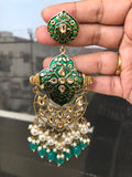 Kundan stones dark green enamel grand festive earrings