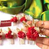 Red Rose with gold details hair accessories for Bridal Braid