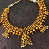 Temple matte half Jumkha short chain set