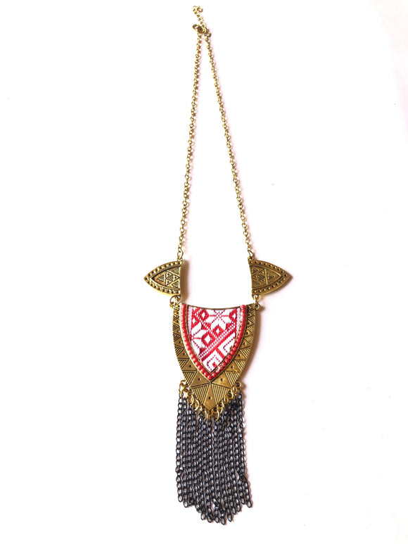 Antique gold pink cloth triangle neckpiece