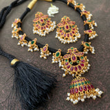 Black silk thread grand jumkha choker set