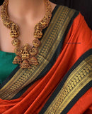 Antique Intricate work grand Lakshmi bridal Haram set (can be pre-ordered)