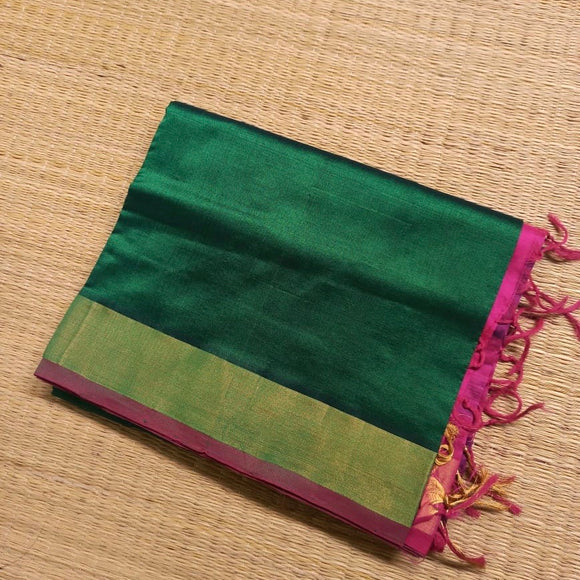 Bottle Green handwoven silk cotton Saree with contrast hot pink pallu