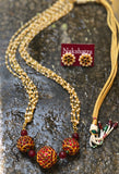 Pearl layers Rudraksha kemp beads Neckpiece Set
