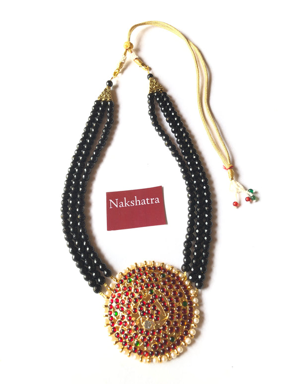 Three layer black beads big round pendant neckpiece (available in three colors)