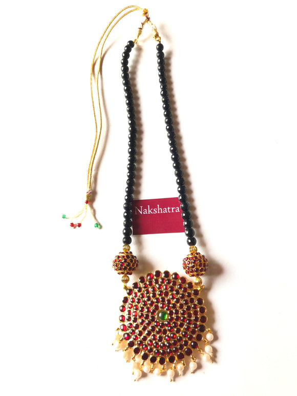 Big Surya pendant - Rudraksha kemp stones with black beads Neckpiece