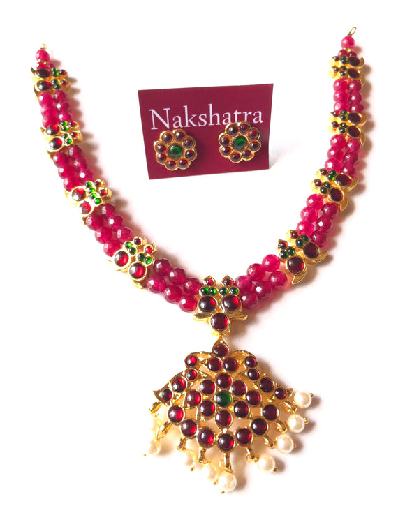 Ruby beads two layer kemp stones  mango neckpiece with pendant