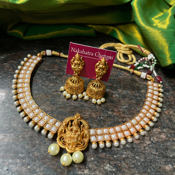 Pearl stones Lakshmi high neck choker set