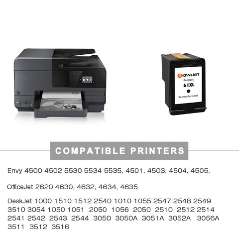 Novajet Remanufactured HP61XL 61 XL Black Ink Cartridge