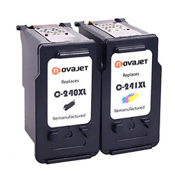 Novajet Remanufactured Ink Cartridge Replacement For PG-240XL Cl-241XL With Ink Level Indicator Used In PIXMA 2120 2220 3120 3220 4120 4220 MX372 432 512 - NOVAJET