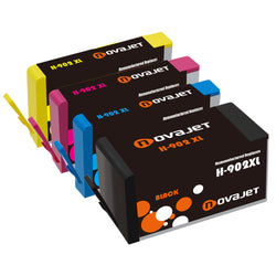 Novajet 4 Pack Remanufactured Ink Cartridge Replacement for HP 902XL 902 XL Used with HP OfficeJet Pro 6968 6978 6954 6978 6970 6975 6962 Printer (1 Black, 1 Cyan, 1 Magenta, 1 Yellow)High Yield - NOVAJET