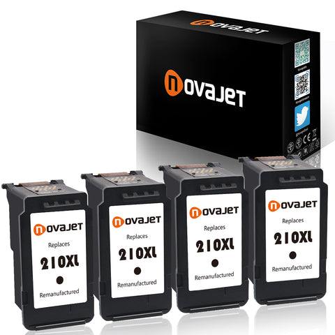 Novajet PG 210XL ( 4 Black ) Remanufactured Ink Cartridge Replacement For Canon PIXMA IP2700 IP2702 MP240 MP250 MP270 MP280 MP490 MP495 MP499 MX320 MX330 MX340 MX350 MX360 MX410 MX420 - NOVAJET