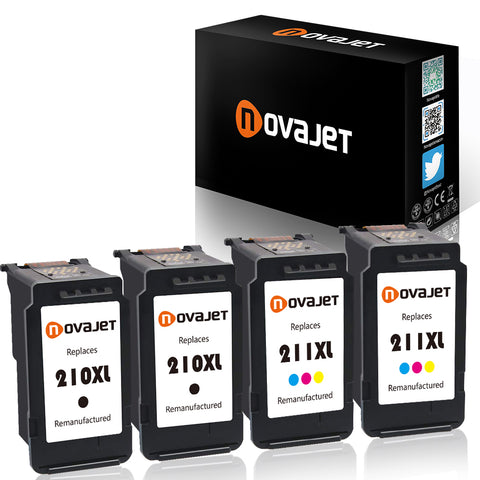 Novajet Remanufactured Ink Cartridge for Canon PG-210XL CL-211XL (2 Black 2 Color) for Canon PIXMA IP2700 IP2702 MP230 MP240 MP250 MP270 MP460 MP480 MP490 MP495 MP499 MX320 MX340 MX350 MX360 MX420 - NOVAJET