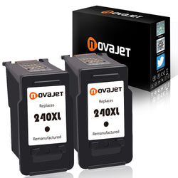 Novajet Remanufactured Ink Cartridge Replacement for Canon PG-240XL 240 XL (2 Black) for Canon Pixma MG3620 MX532 MG2120 MG2220 MG3120 MG3122 MG3220 MG3222 MX432 MG3520 MX452 MX512 High Yield - NOVAJET