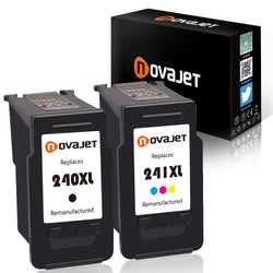 Novajet 2 Pack Remanufactured Ink Cartridge for Canon PG 240XL & CL 241XL High Yield (1*Black, 1*Tricolor) Compatiable With Canon Pixma MG3620 MX432 MG3520 MX452 MX512 - NOVAJET