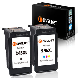 Novajet Remanufactured Ink for PG-245XL 245 XL CL-246XL 246 XL Ink Cartridge (1*Black + 1*Tri-Color) Compatiable with Canon PIXMA MX492 MG2520 MG2420 MG2522 Show Ink Level - NOVAJET