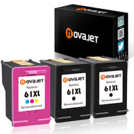 Novajet 3 Pack Remanufactured Ink Cartridge Replacement For HP 61XL 61 XL High Yield (2 Black/1 Tricolor) Used In Officejet 4630 4632 4635 Deskjet 1010 2549 2540 2542 3050 Envy 5530 4500 5530 4501 - NOVAJET