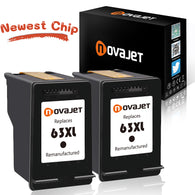 Novajet Remanufactured Ink Cartridge Replacement for HP 63XL 63 XL (2 Black) High Yield Compatible with HP DeskJet 3633 All-in-One HP Envy 4520 All-in-One HP OfficeJet 3830 4650 All-in-One Printer - NOVAJET