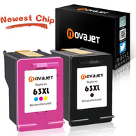 Novajet Remanufactured Ink Cartridge Replacement for HP 63XL Compatible with Officejet 4650 Envy 4520 4512 4516 4655 Deskjet 1112 2130 3630 3633 3634 High Yield (1 Black, 1 Tri-Color) - NOVAJET