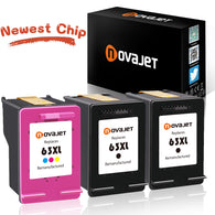 Novajet Remanufactured Ink Cartridge Replacement for HP 63XL 63 XL Use in Envy 4512 4516 4520 Officejet 3830 3831 4650 4655 Deskjet 2130 2132 3630 3632 3634 3636 Printer (2 Black, 1 Tri-Color) - NOVAJET