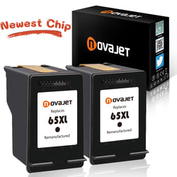 (New Chip) Novajet Remanufactured Ink Cartridge Replacement For HP 65 XL 65XL High Yield (2 Black) Compatible With HP Deskjet 3720 3721 3730 3732 3752 3758 Printer - NOVAJET