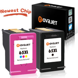 (New Chip) Novajet Remanufactured Ink Cartridge Replacement for HP 65 65XL (1 Black & 1 Tri-Color) Use in Deskjet 3720 3721 3722 3723 3730 3732 3752 3755 3758 Printers - NOVAJET