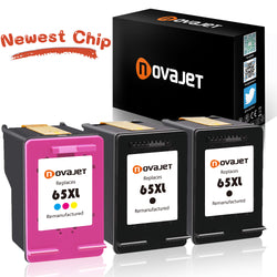 (New Chip) Novajet Remanufactured Ink Cartridge Replacement for HP 65 XL 65XL High Yield (2*Black & 1*Tricolor) Compatible with HP Deskjet 2624 2652 2655 3720 3721 3730 3732 3752 3758 Printer - NOVAJET