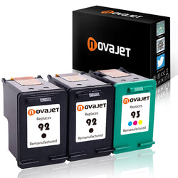 Novajet 3 Pack Remanufactured Ink Cartridge Replacement (2 Black + 1 Color) for HP 92 93 C9362WN C9361WN Replacement for Deskjet 5420 5420v 5440 5442 5443 Officejet 6300 6301 6305 6310 - NOVAJET