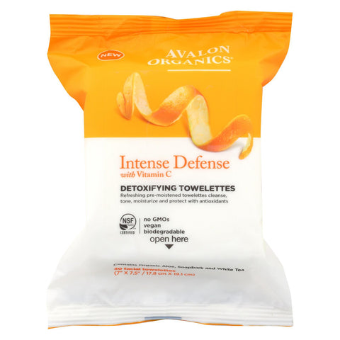 Avalon Detoxifying Towelettes - Intense Defense With Vitamin C - Case Of 6 - 30 Count