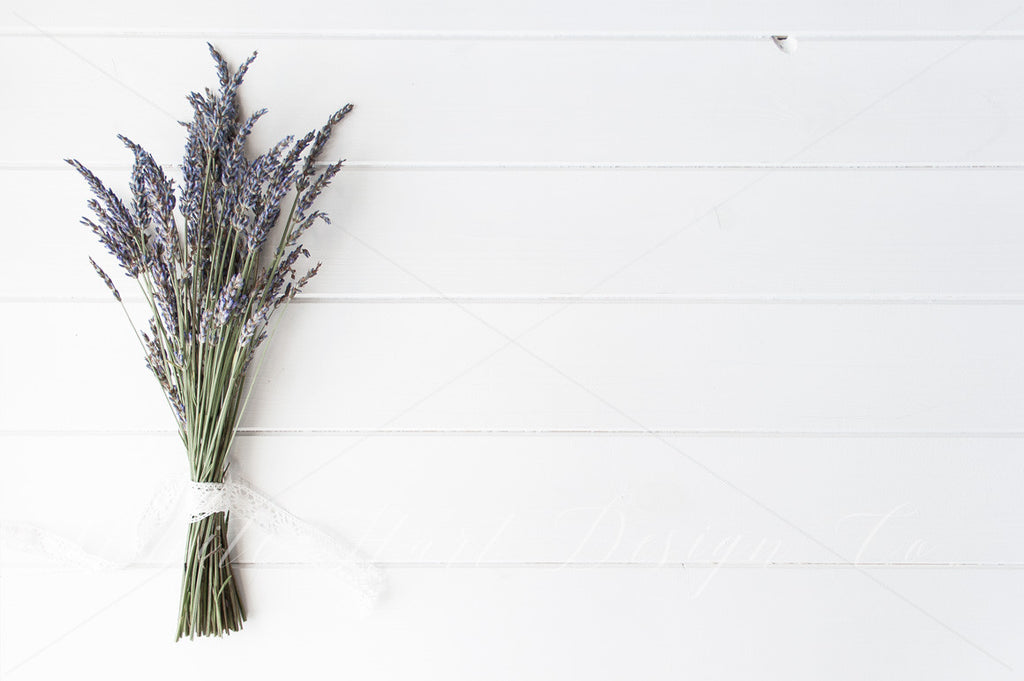 Lavender flowers styled rustic flat lay