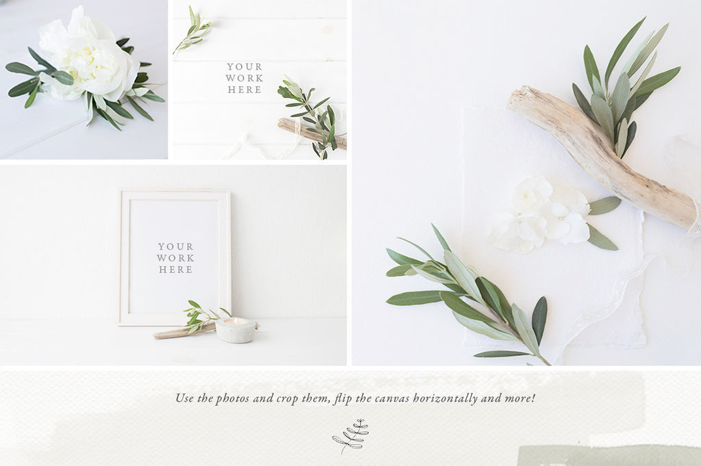 The Olive & White Stock photo and Mock up Bundle - 15 photos