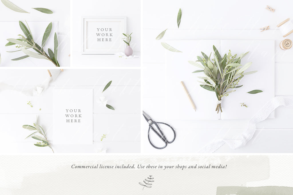 The Olive & White II - Second edition - 15 mock ups and stock photos