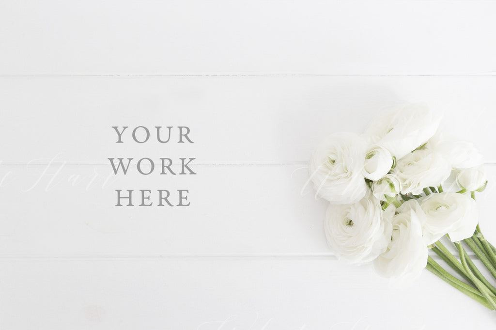 White floral desktop flat lay photo