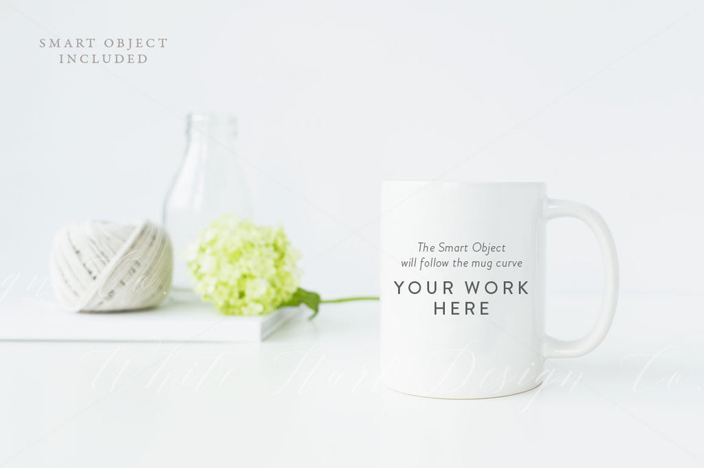 Mug mock up - floral greenery - Jpeg + Psd file with a smart object