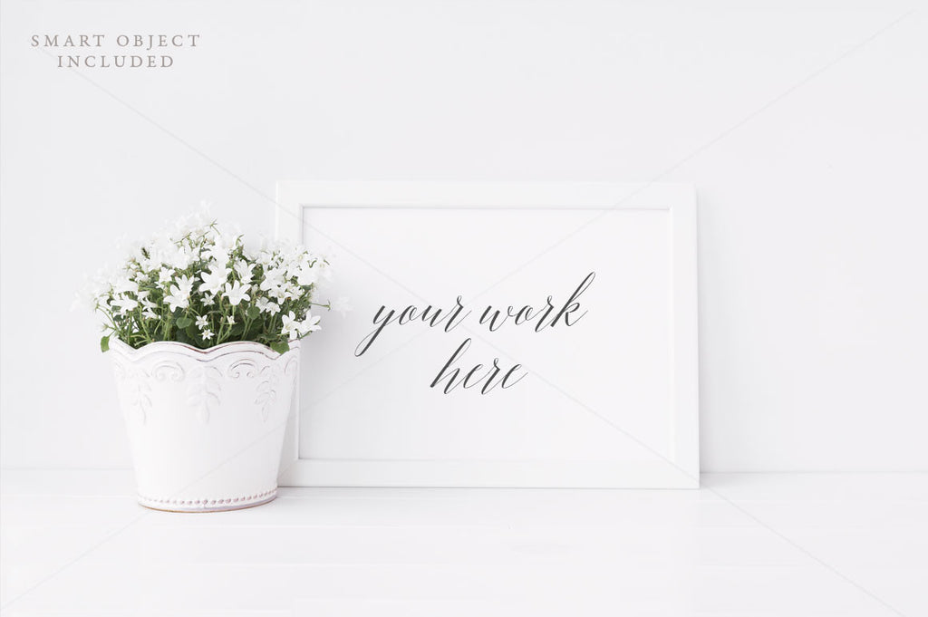 White floral landscape frame mock up - A4/20x30cm - Styled stock photography - Jpeg file + PSD with smart object