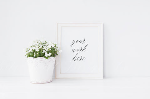 "White frame + white floral plant mock up - 8 x 10"" - High Res Jpeg file + PSD with smart object"