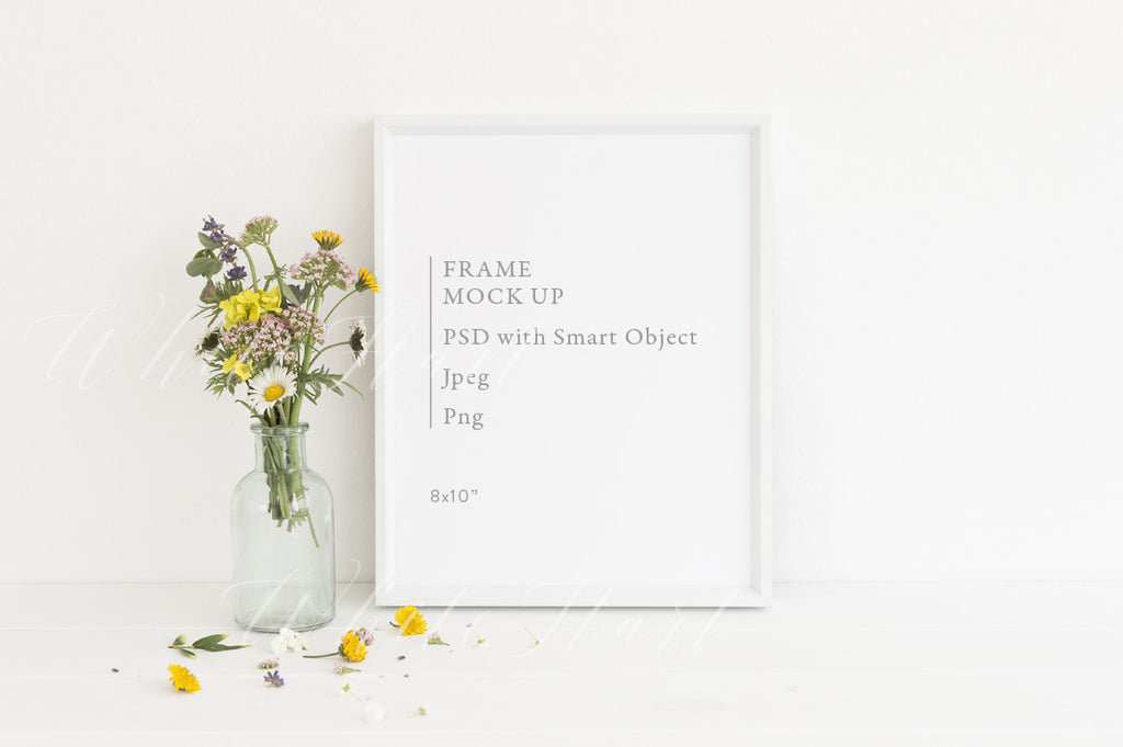 "8x10"" floral frame mock up"