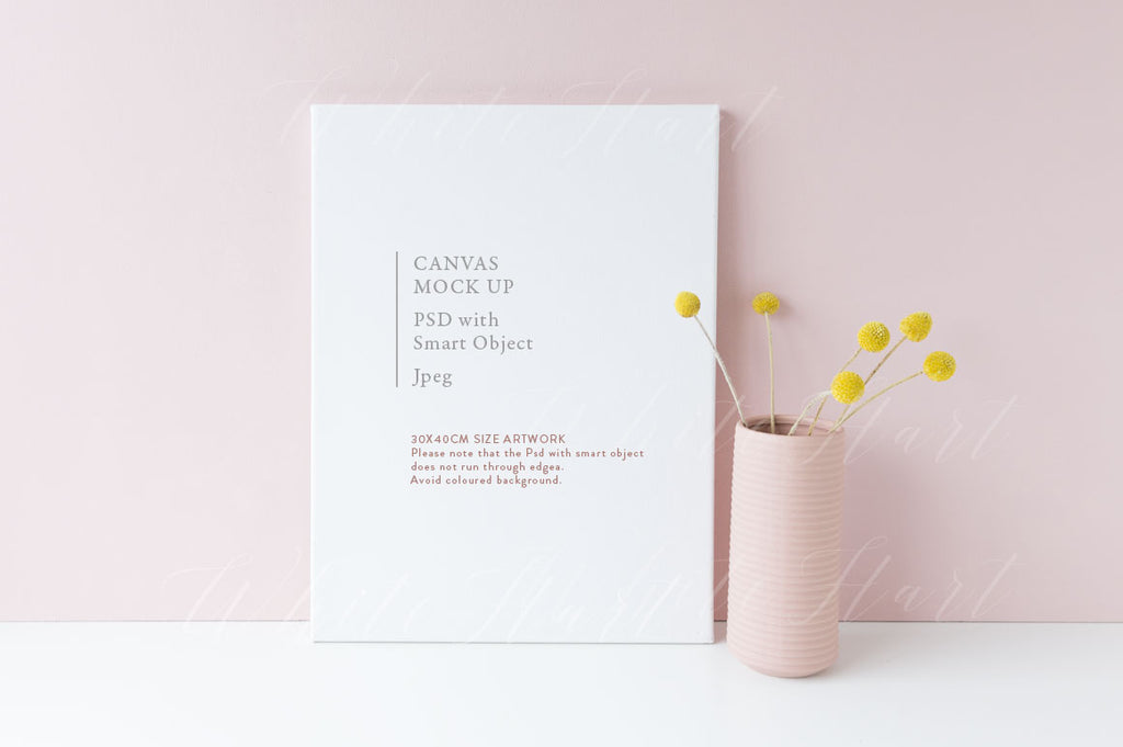 Canvas floral mock up - Psd with smart object and Jpeg - 30x40cm