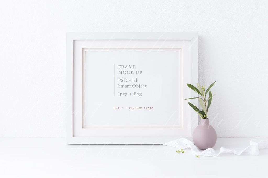 "8x10"" landscape botanical white frame mock up"