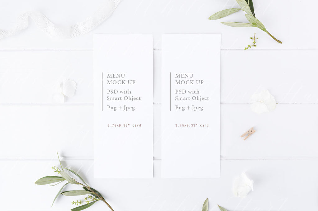 Botanical styled menu card wedding mock up
