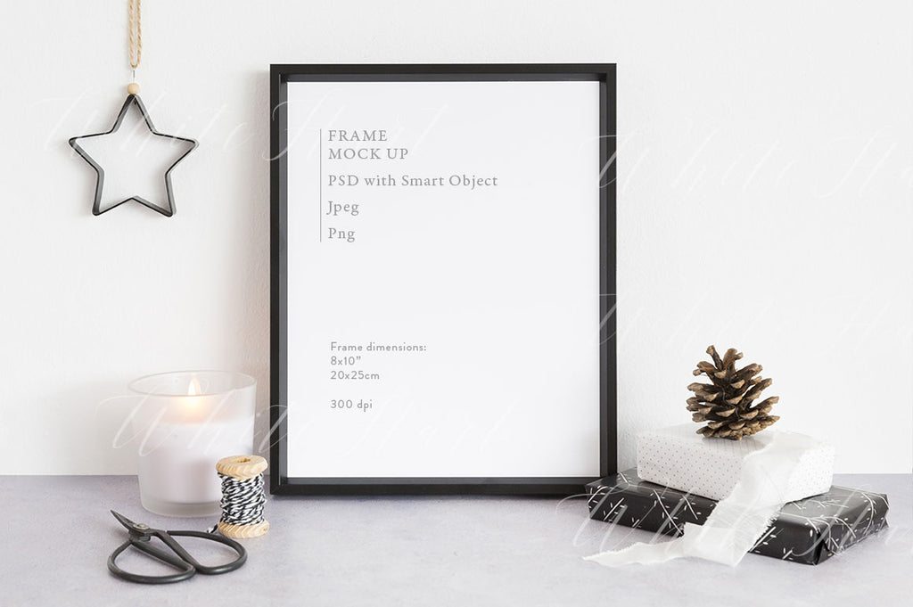 "Christmas Frame mockup - Black 8x10"" - Natural style"