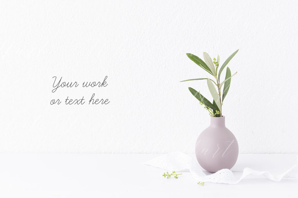 Botanical styled stock photo - Little pink vase and olive branch