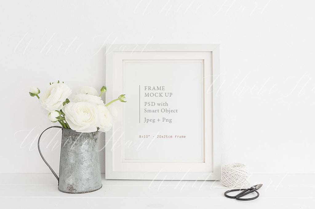 "8x10"" white floral frame mock up"