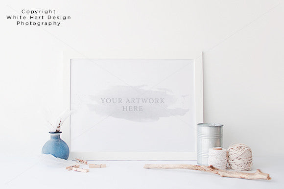 White 30x40cm landscape frame mock up - Jpeg + PSD with Smart object - Nautical style