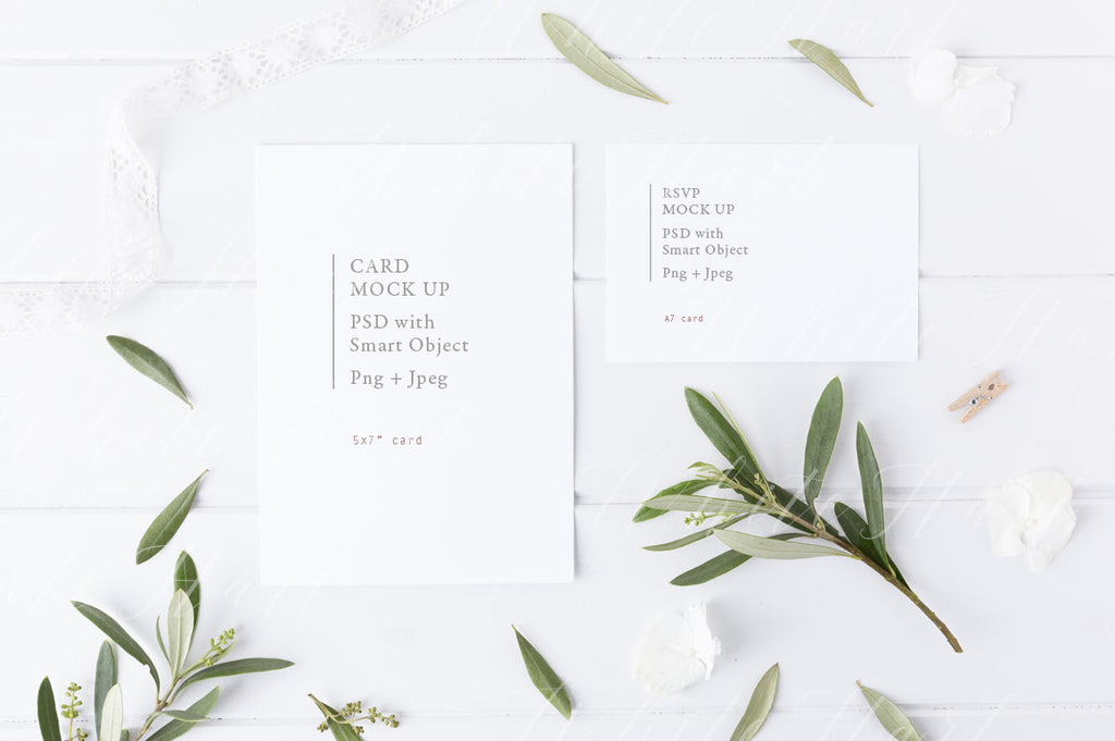 Botanical styled wedding stationery invitation mock up