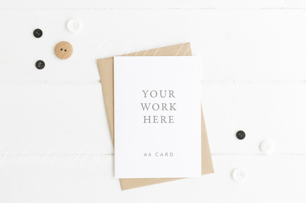 A6 card mockup - white card with kraft envelope - Portrait orientation
